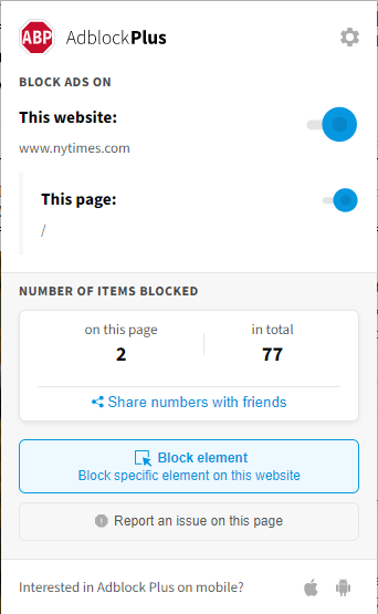 ad block plus extension