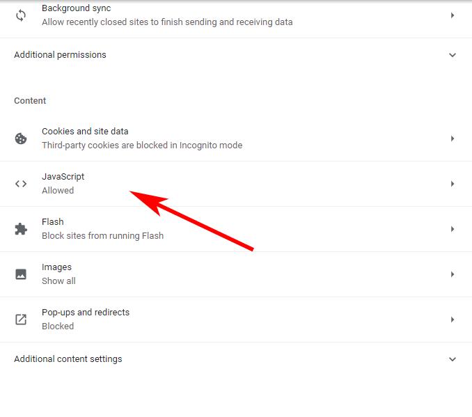 javascript option under the content heading