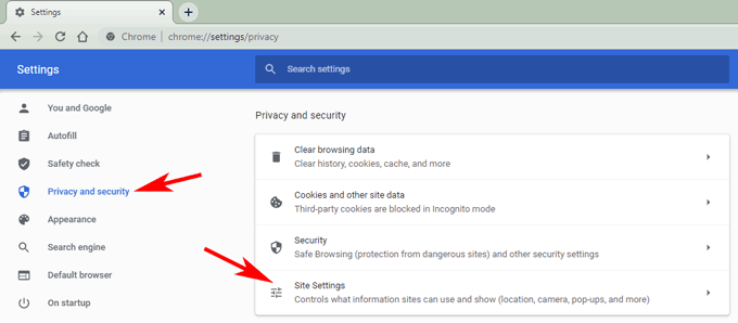 privacy and security in chrome settings