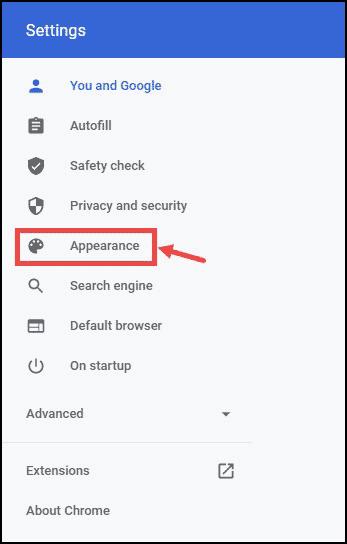 Google Chrome Appearance