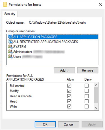 changing permissions for hosts file