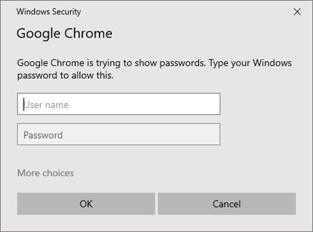 Chrome prompts to enter your computer password