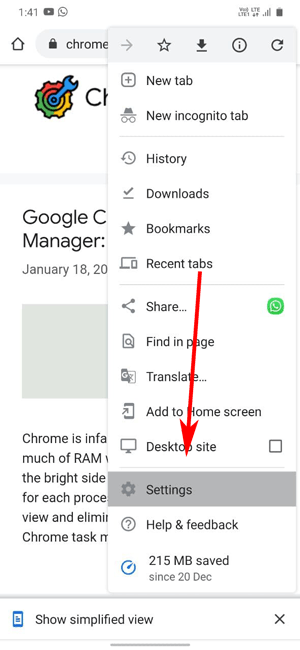 chrome settings for android smartphone