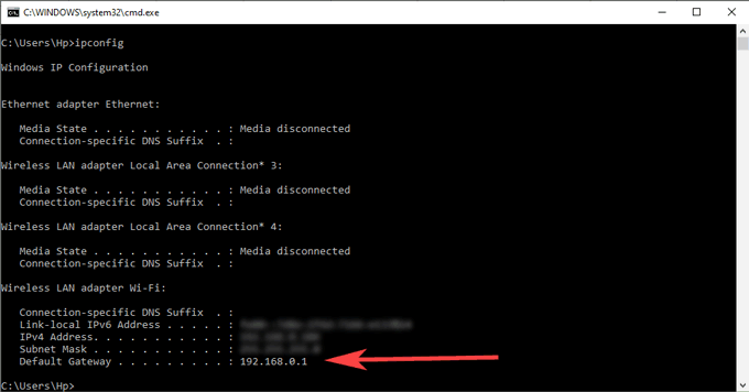 Router's IP address available infront of Default Gateway
