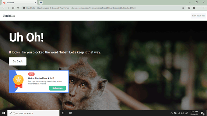 Landing page for websites blocked by BlockSite