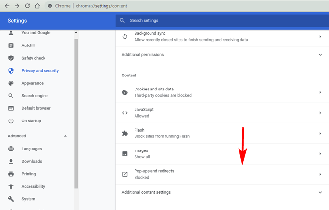 pop-up and redirects in Chrome settings