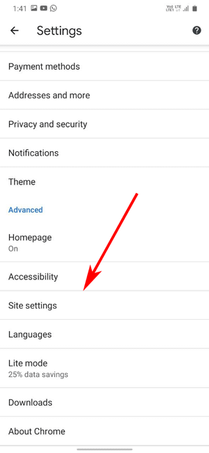 site settings in android phone