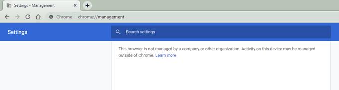 Chrome's management page