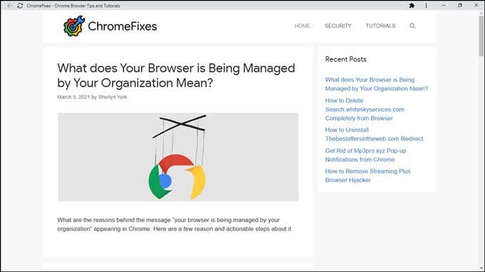 web page without address bar