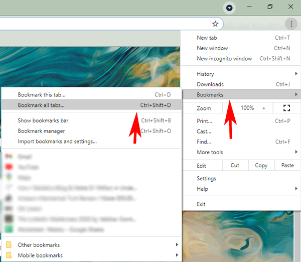 bookmark all tabs in Chrome