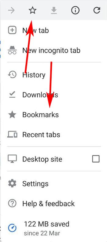 bookmark icon in chrome for smartphone