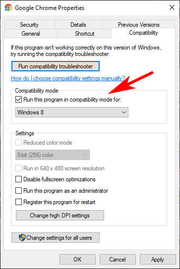 select compatibility option to solve taskbar disappearing in chrome
