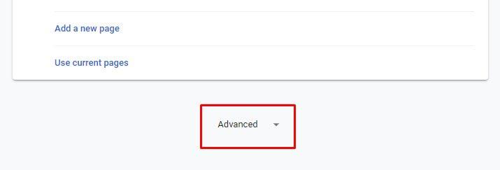 Reset Google Chrome- Click Advanced